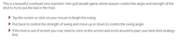Mini golf game instructions